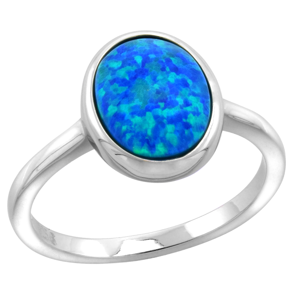 Sterling Silver Synthetic Opal Small Oval Cabochon Ring for Women 1/2 inch wide sizes 6-9