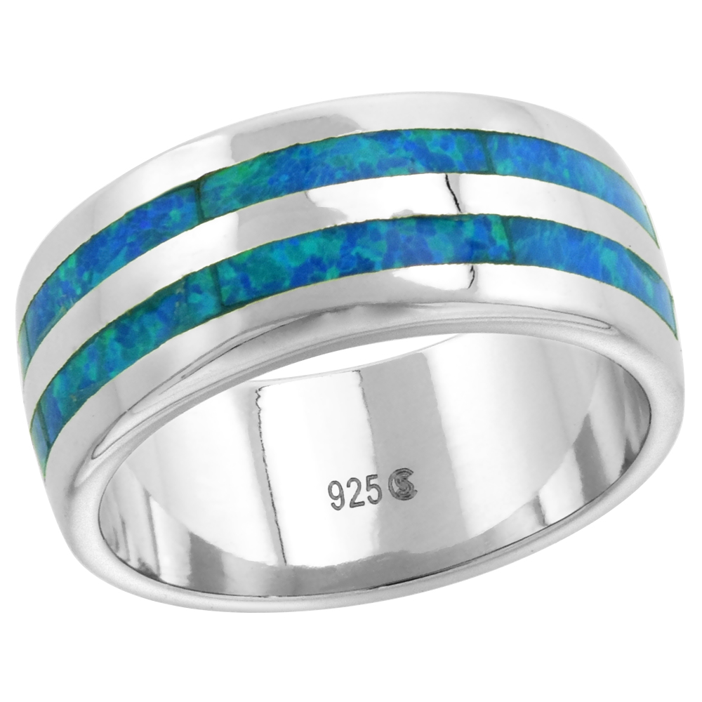 Sterling Silver 8mm Synthetic Opal Double Stripe Wedding Band Ring for Women sizes 6-9
