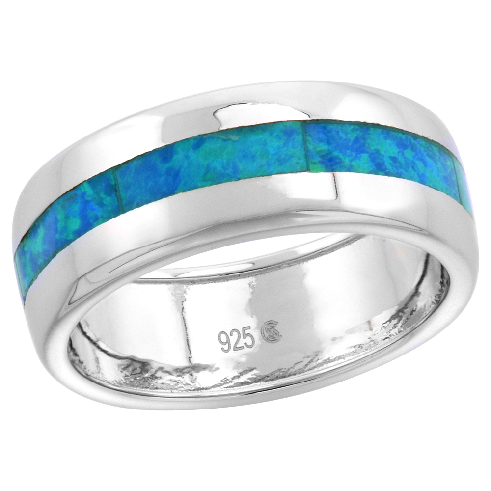 Sterling Silver 7mm Synthetic Opal Stripe Wedding Band Ring for Women sizes 6-9