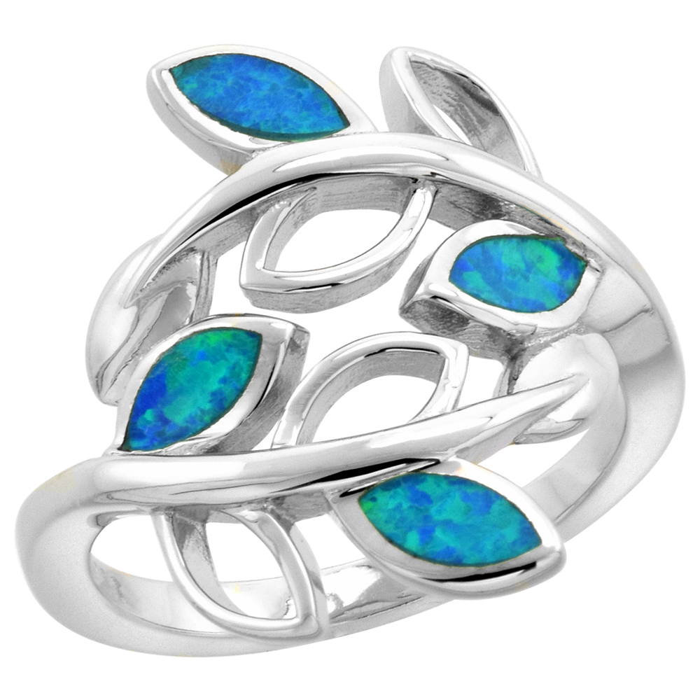 Sterling Silver Synthetic Opal Bypass Olive Branch Ring for Women 3/4 inch wide sizes 6-9