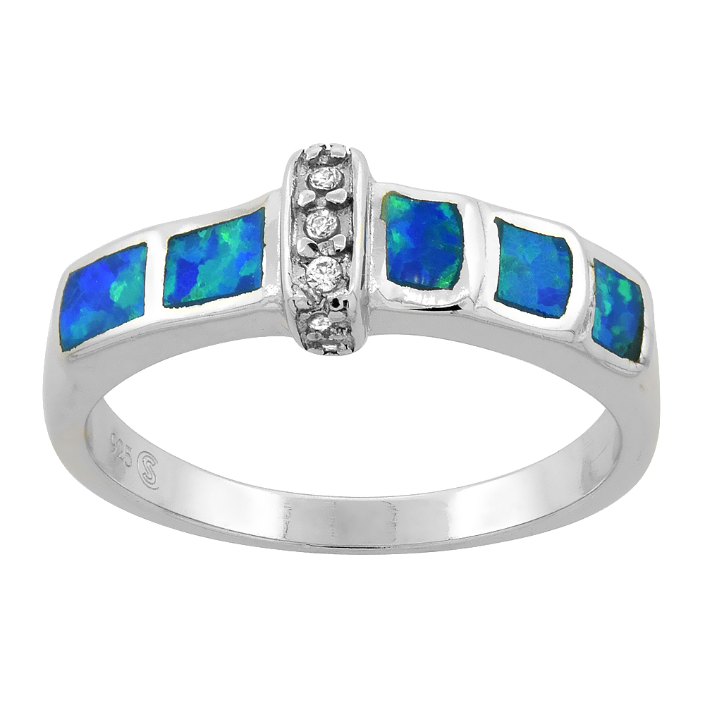 Sterling Silver Synthetic Blue Opal Ring Cubic Zirconia Accent, 3/16 inch
