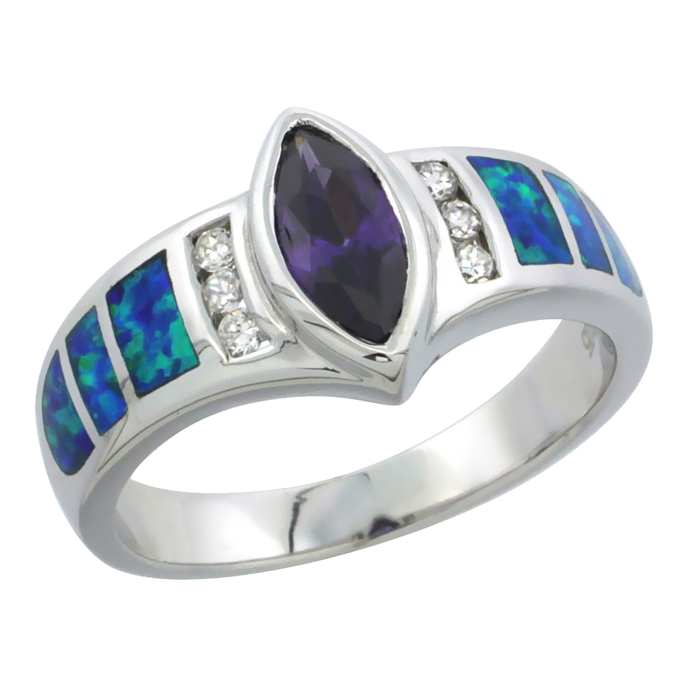 Sterling Silver Synthetic Blue Opal Ring w/ Marquis Cut Amethyst CZ Center 1/4 inch