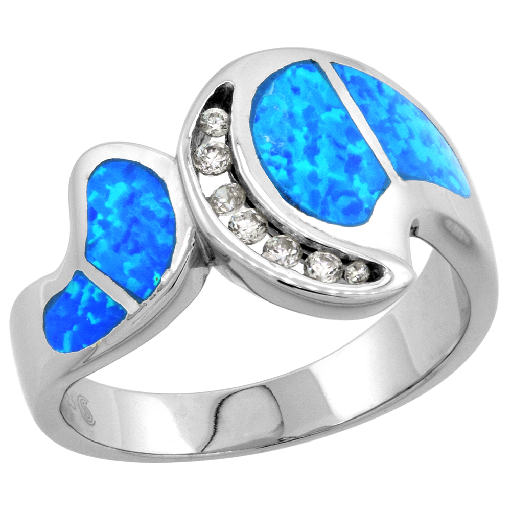Sterling Silver Synthetic Blue Opal Ring Cubic Zirconia Accent, 1/2 inch