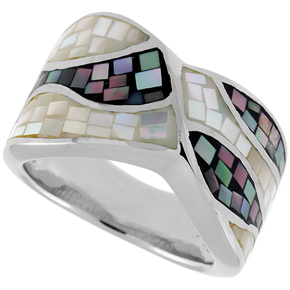 Sterling Silver Natural Shell Mosaic Wave Ring, 1/2 inch wide