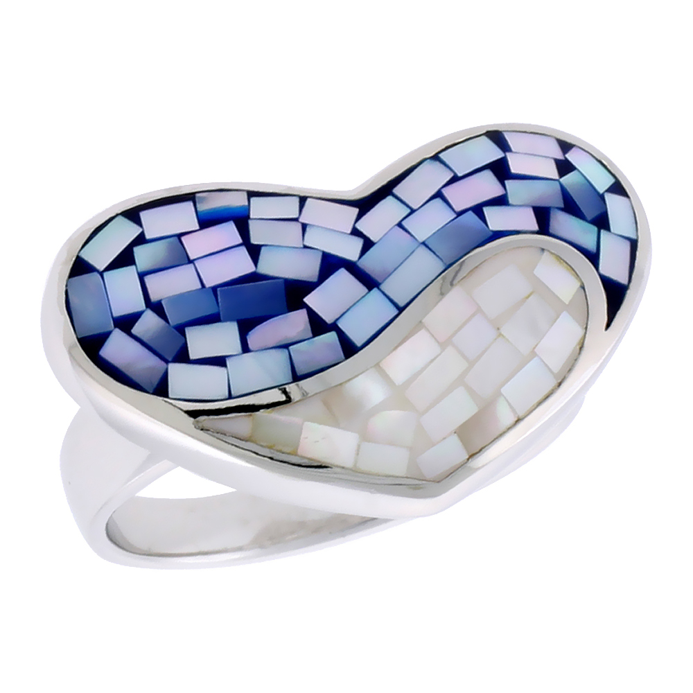 Sterling Silver Natural Shell Mosaic Heart Ring Blue and White, 29/32 inch wide
