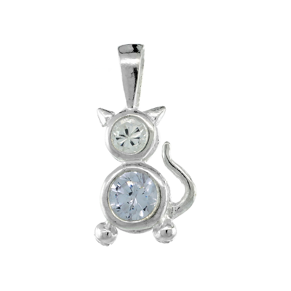 Sterling Silver Alexandrite Cubic Zirconia June Birthstone Cat Necklace with 1.5 mm Bead Chain