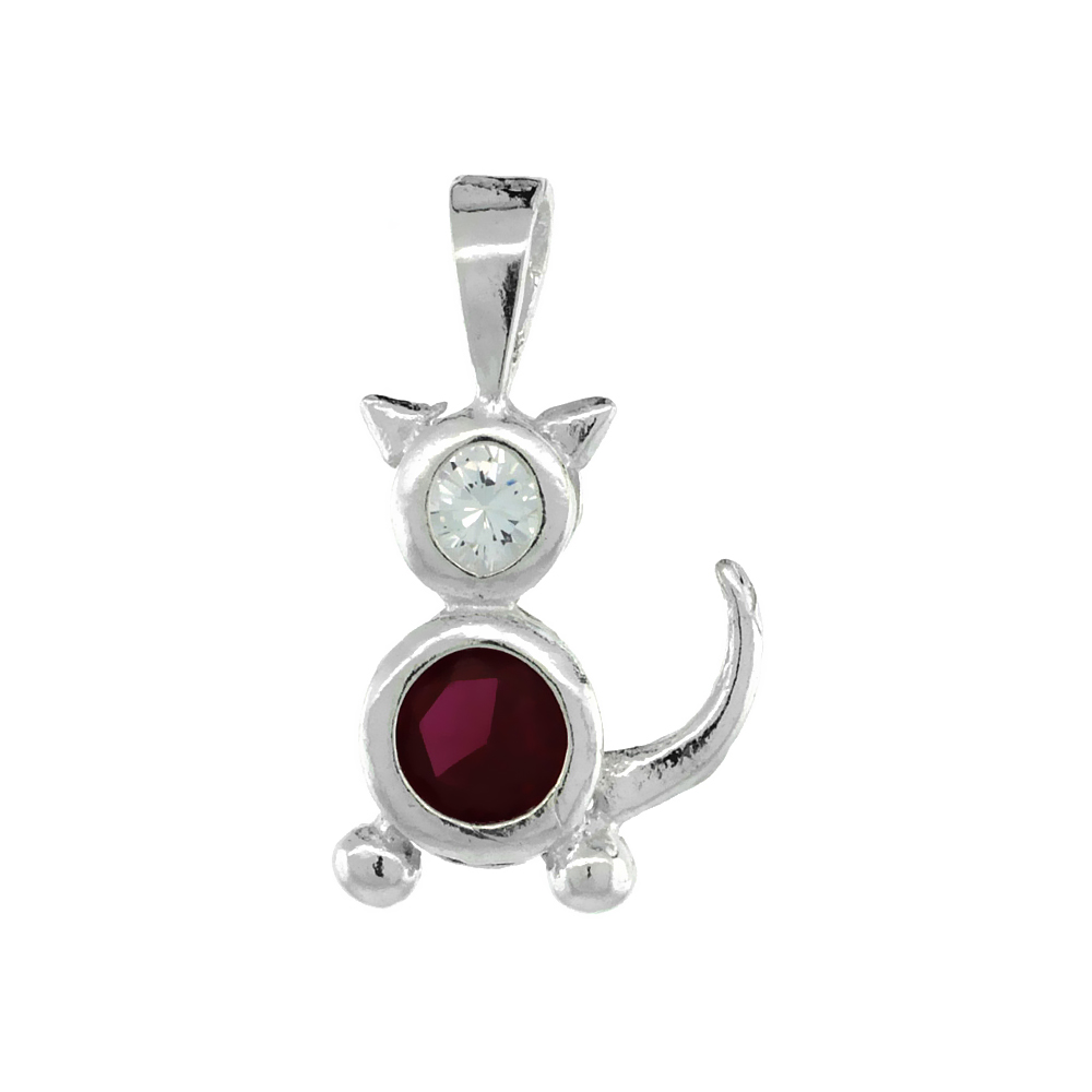Sterling Silver Ruby Cubic Zirconia July Birthstone Cat Necklace with 1.5 mm Bead Chain