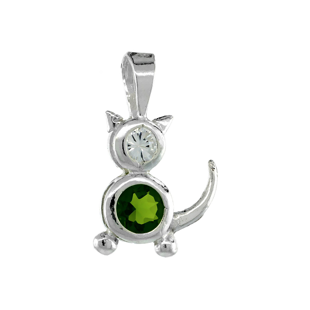 Sterling Silver Peridot Cubic Zirconia August Birthstone Cat Necklace with 1.5 mm Bead Chain