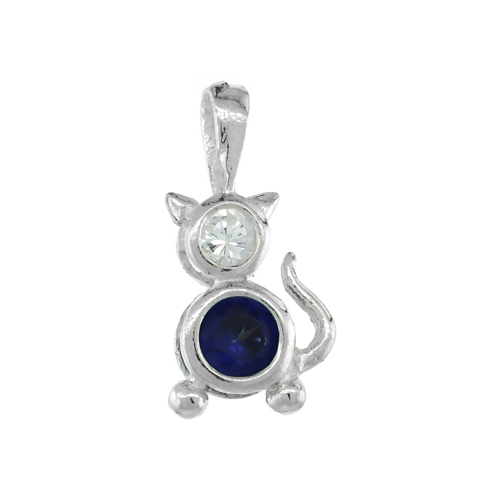 Sterling Silver Blue Sapphire Cubic Zirconia September Birthstone Cat Necklace with 1.5 mm Bead Chain