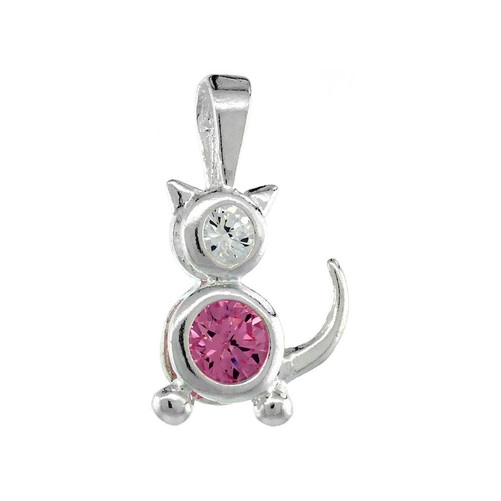Sterling Silver Pink Tourmaline Cubic Zirconia October Birthstone Cat Necklace with 1.5 mm Bead Chain