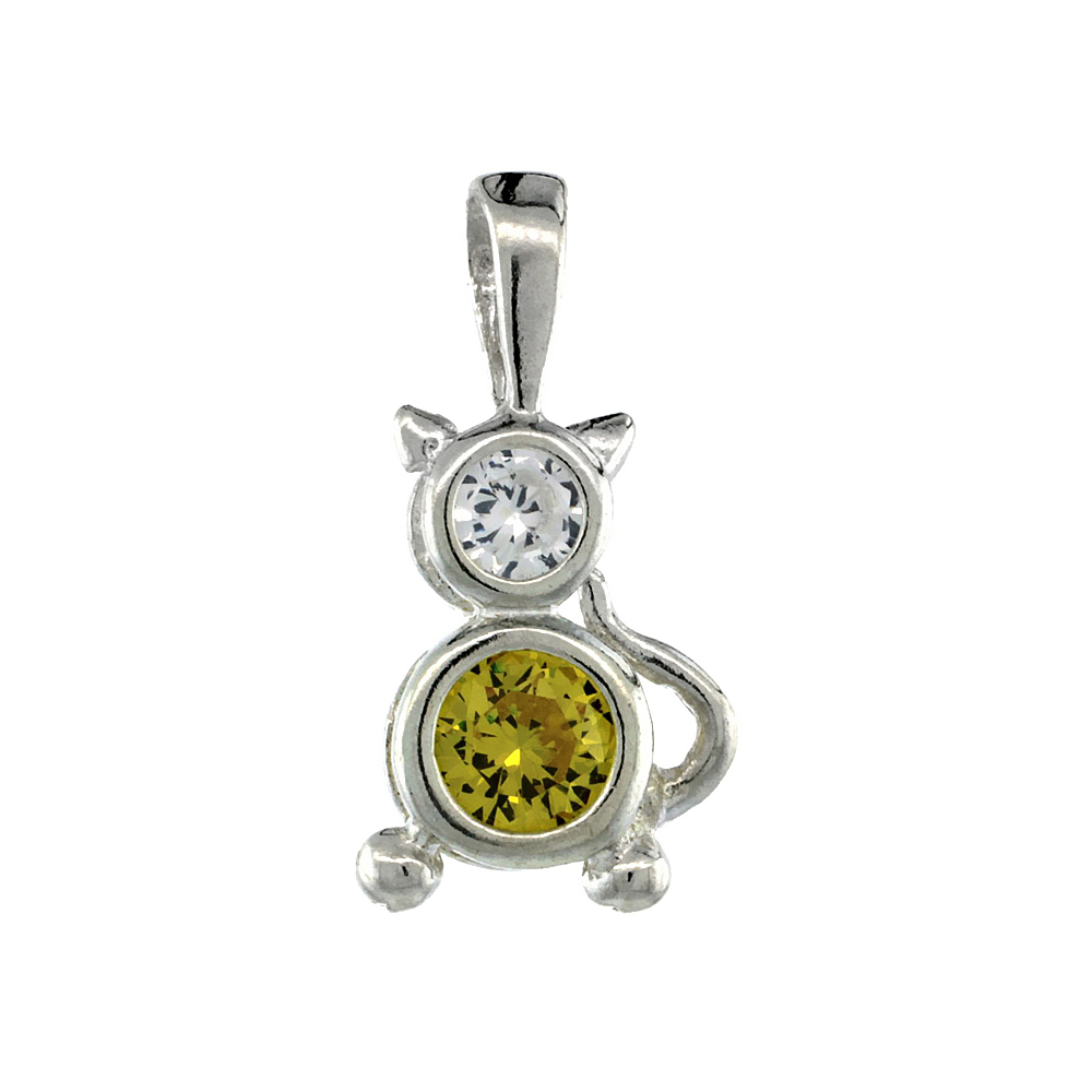 Sterling Silver Citrine Cubic Zirconia November Birthstone Cat Necklace with 1.5 mm Bead Chain