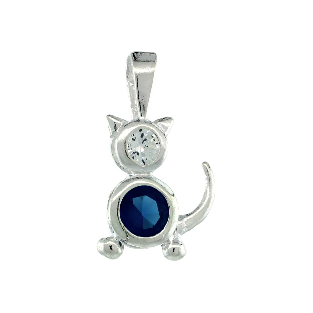 Sterling Silver Blue Topaz Cubic Zirconia December Birthstone Cat Necklace with 1.5 mm Bead Chain