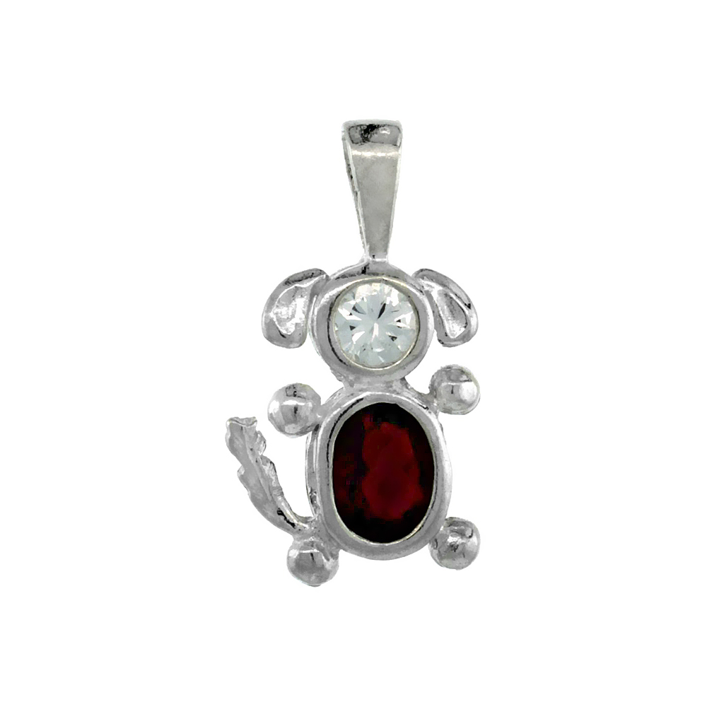 Sterling Silver Garnet Cubic Zirconia January Birthstone Dog Necklace with 1.5 mm Bead Chain