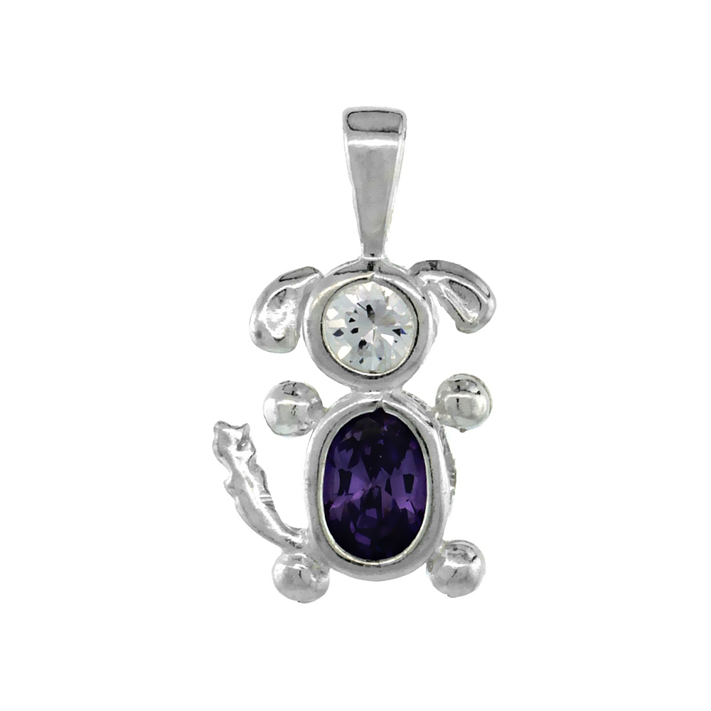 Sterling Silver Amethyst Cubic Zirconia February Birthstone Dog Necklace with 1.5 mm Bead Chain