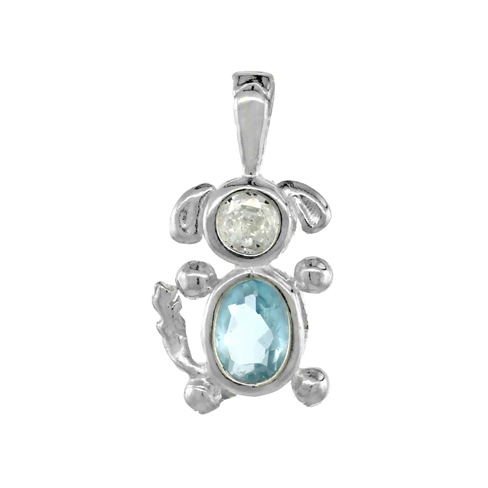 Sterling Silver Aquamarine Cubic Zirconia March Birthstone Dog Necklace with 1.5 mm Bead Chain