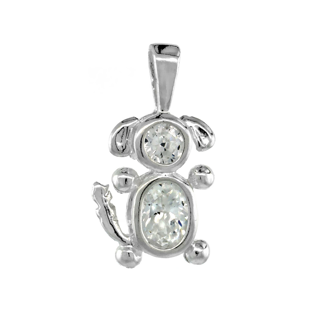 Sterling Silver Clear Cubic Zirconia April Birthstone Dog Necklace with 1.5 mm Bead Chain