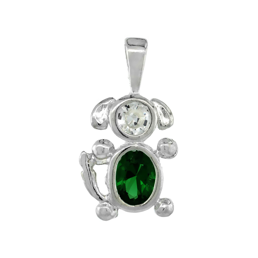 Sterling Silver Emerald Cubic Zirconia May Birthstone Dog Necklace with 1.5 mm Bead Chain