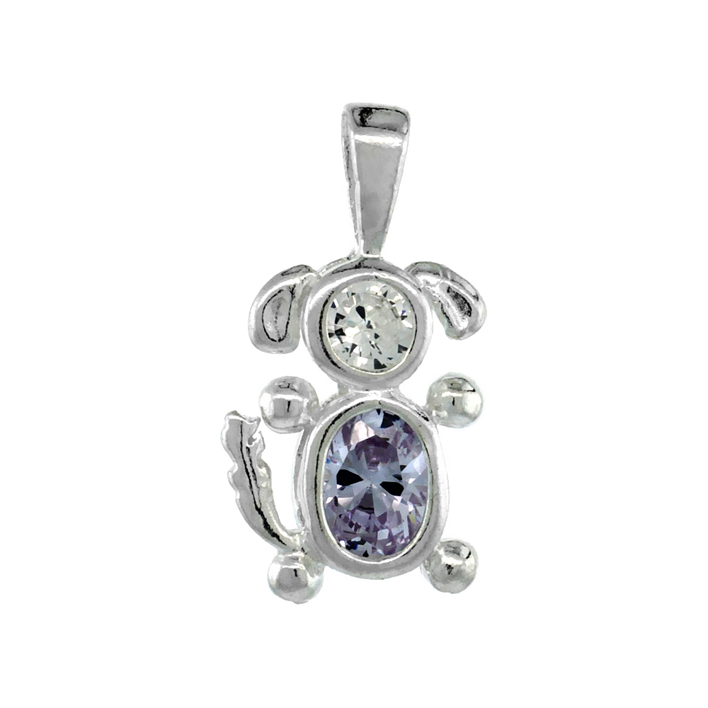 Sterling Silver Alexandrite Cubic Zirconia June Birthstone Dog Necklace with 1.5 mm Bead Chain