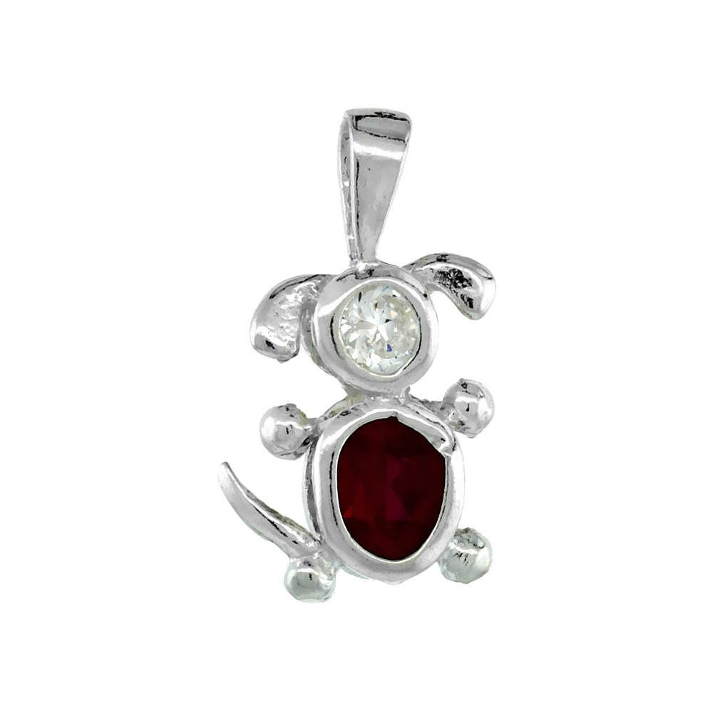 Sterling Silver Ruby Cubic Zirconia July Birthstone Dog Necklace with 1.5 mm Bead Chain