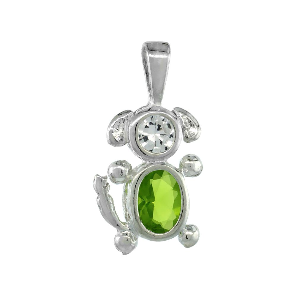 Sterling Silver Peridot Cubic Zirconia August Birthstone Dog Necklace with 1.5 mm Bead Chain