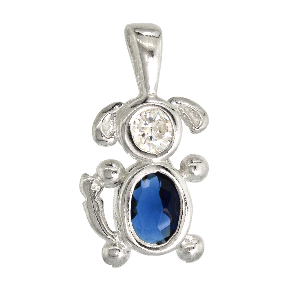 Sterling Silver Blue Sapphire Cubic Zirconia September Birthstone Dog Necklace with 1.5 mm Bead Chain
