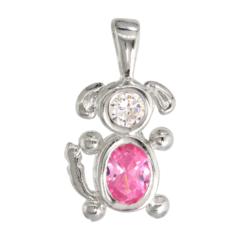 Sterling Silver Pink Tourmaline Cubic Zirconia October Birthstone Dog Necklace with 1.5 mm Bead Chain