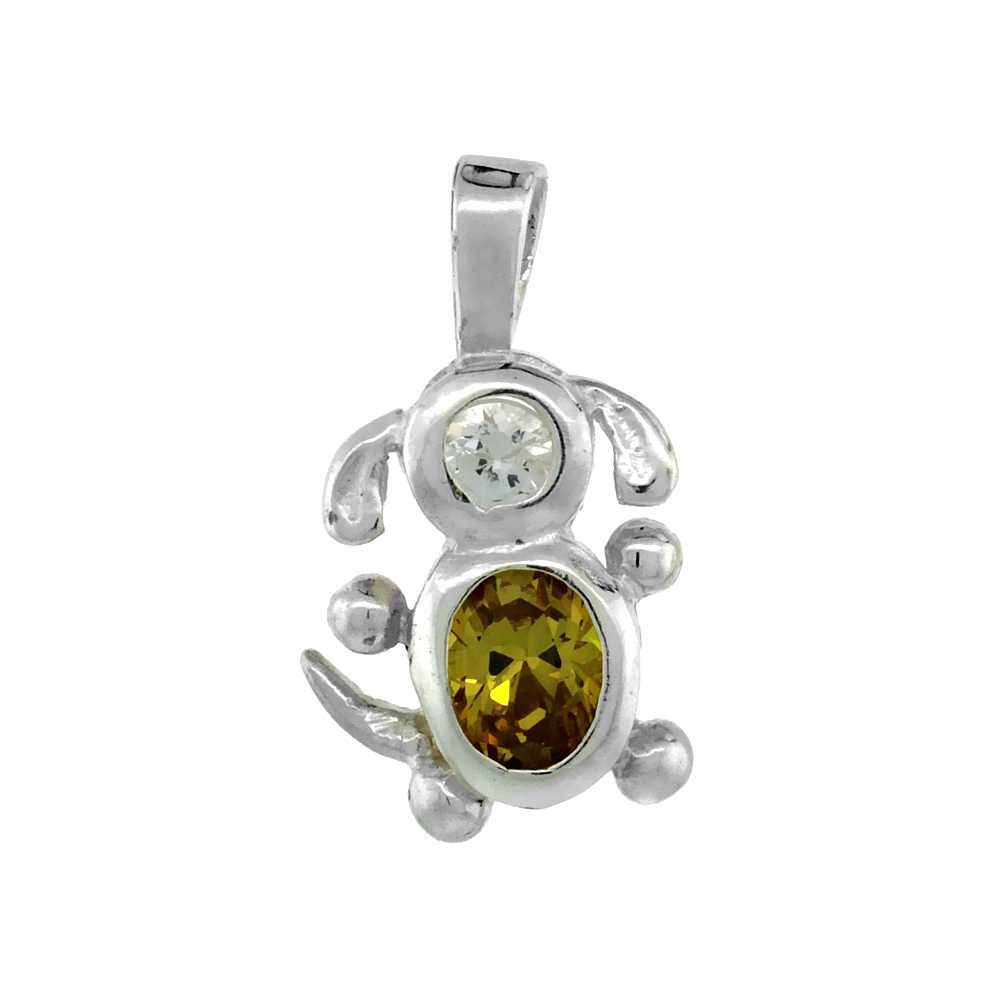Sterling Silver Citrine Cubic Zirconia November Birthstone Dog Necklace with 1.5 mm Bead Chain
