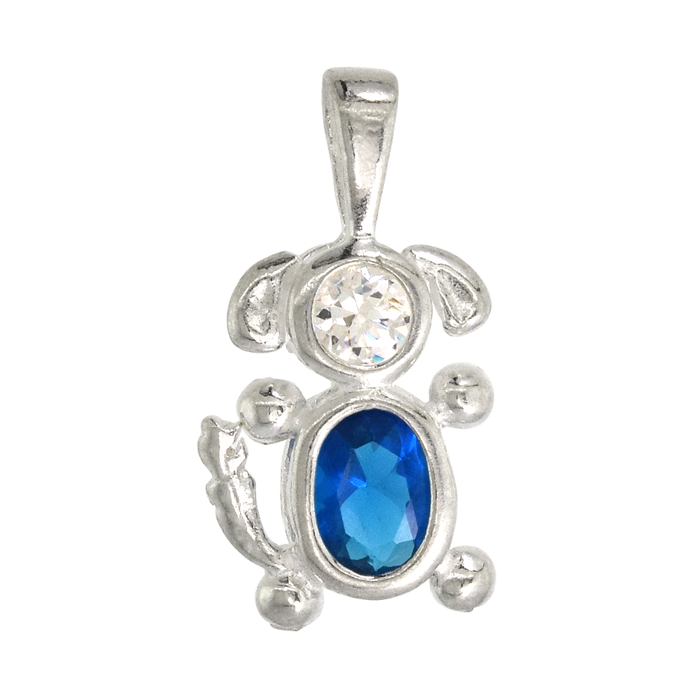 Sterling Silver Blue Topaz Cubic Zirconia December Birthstone Dog Necklace with 1.5 mm Bead Chain