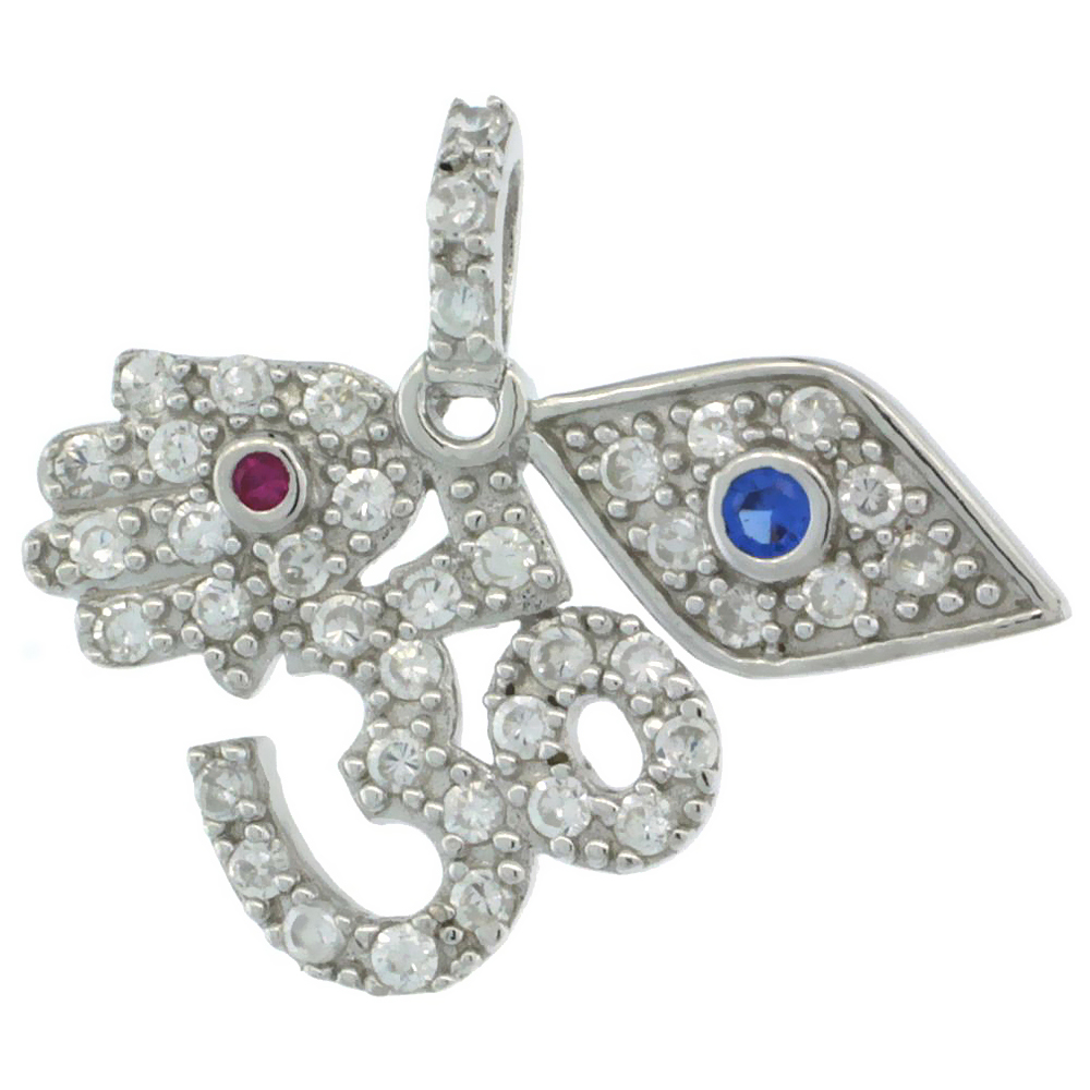 Sterling Silver OM Aum, Hamsa, Evil Eye Pendant w/ Cubic Zirconia Stones, 15/16 in. (24 mm) wide