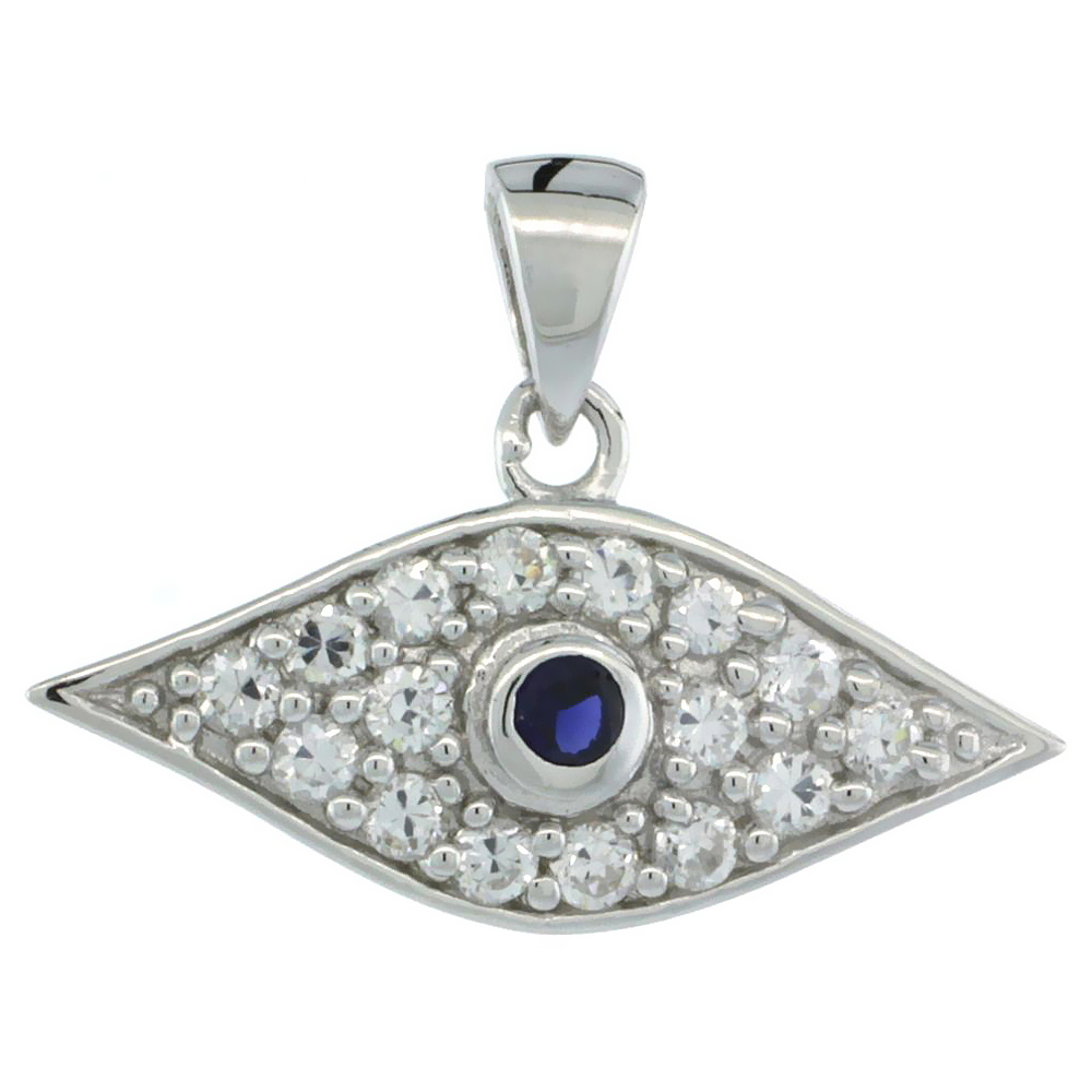 Sterling Silver Evil Eye Blue Center Pendant w/ Cubic Zirconia Stones, 7/8 in. (23 mm) wide