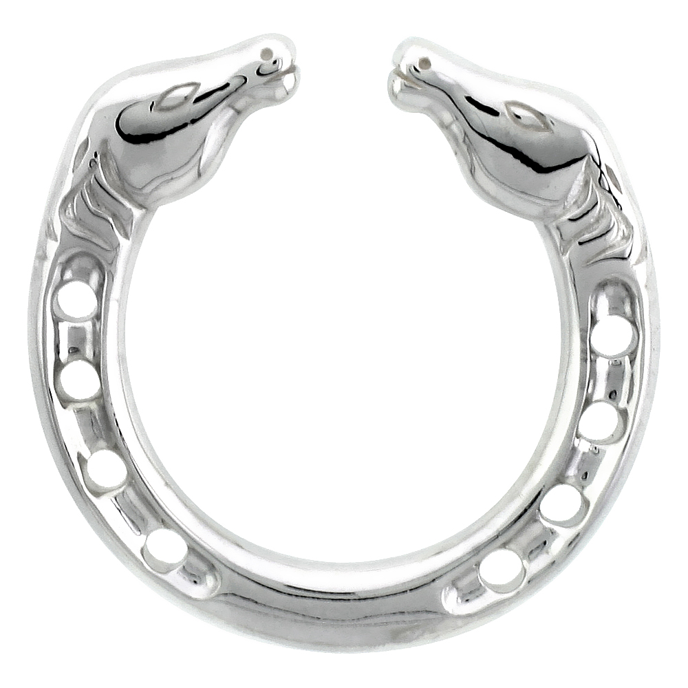 Sterling Silver Horseshoe Pendant High Quality Flawless finish, 1 1/18 inch tall