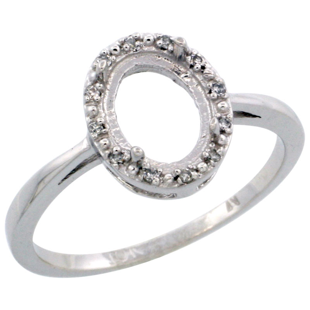 10k White Gold Semi-Mount Ring ( 8x6 mm ) Oval Stone & 0.02 ct Diamond Accents, sizes 5 - 10