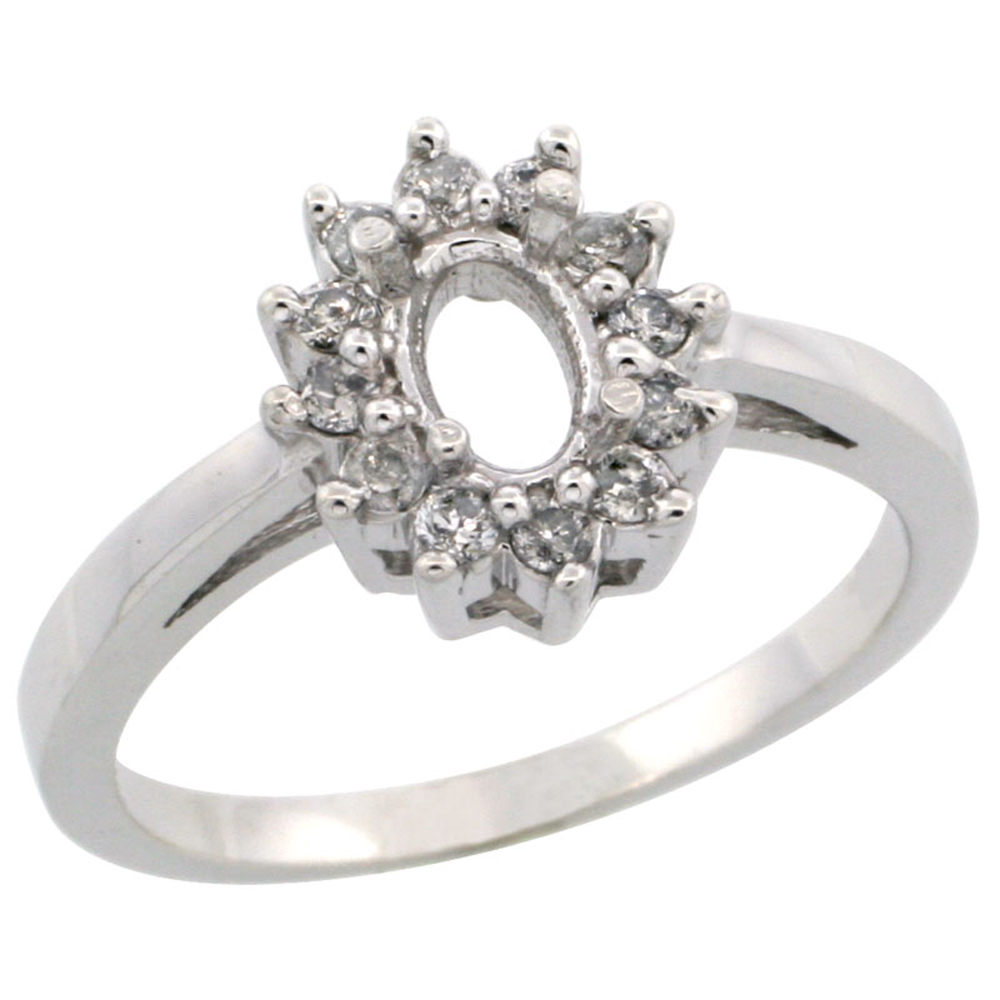 10k White Gold Semi-Mount Ring ( 6x4 mm ) Oval Stone & 0.22 ct Diamond Accents, sizes 5 - 10