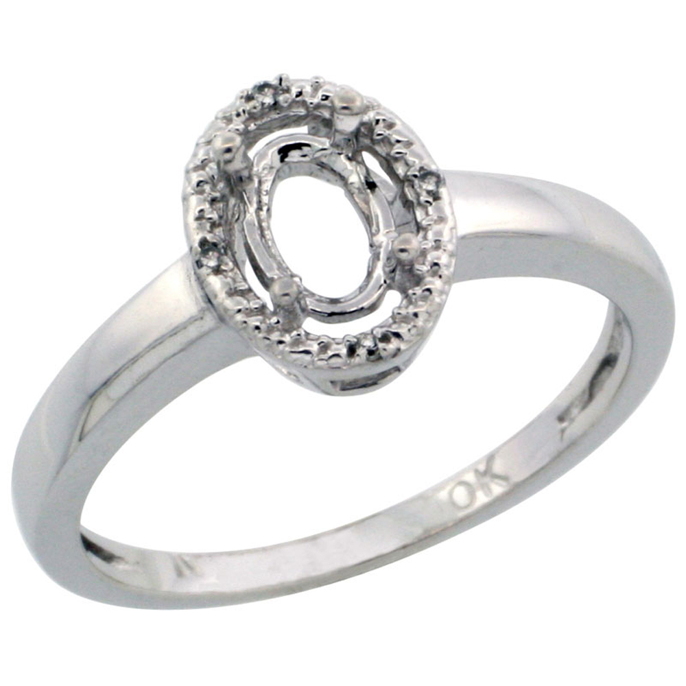 10k White Gold Semi-Mount Ring ( 6x4 mm ) Oval Stone & 0.03 ct Diamond Accent, sizes 5 - 10