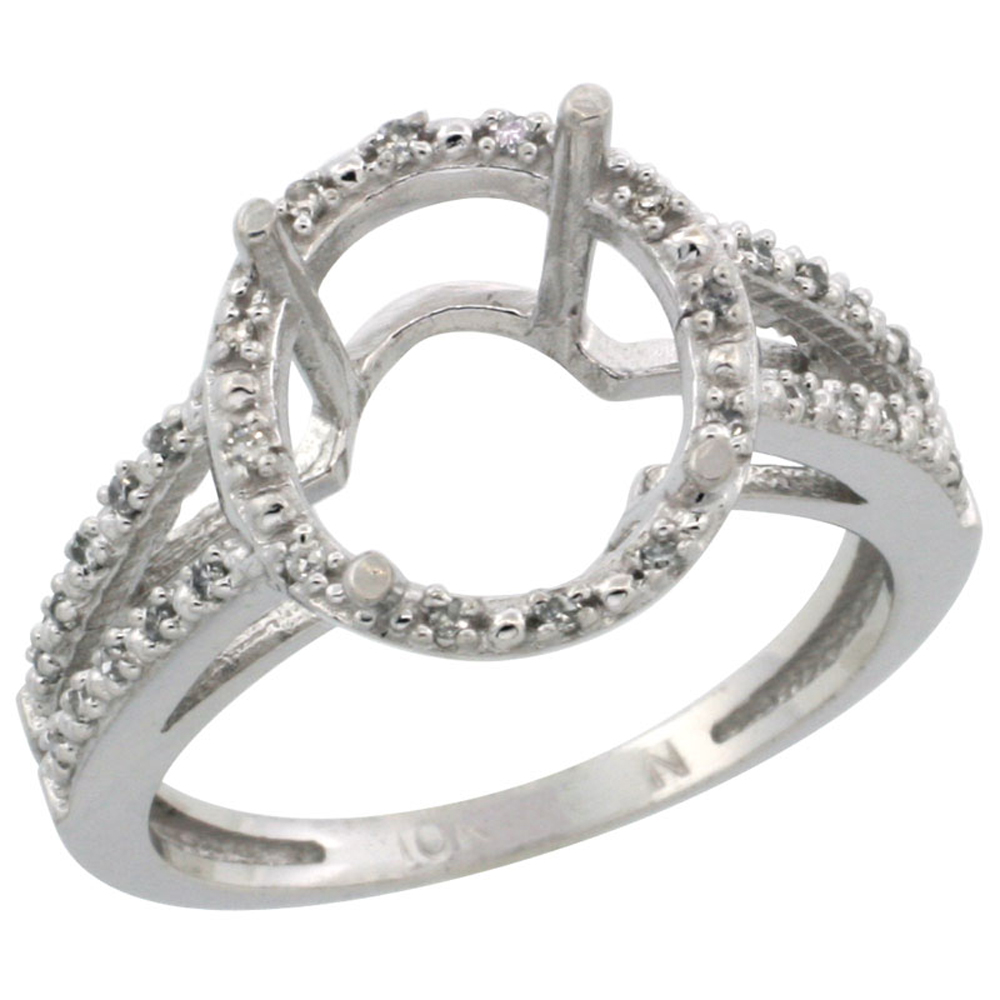 14K White Gold Semi-Mount Ring ( 11x9 mm ) Oval Stone & 0.09 ct Diamond Accent, sizes 5 - 10
