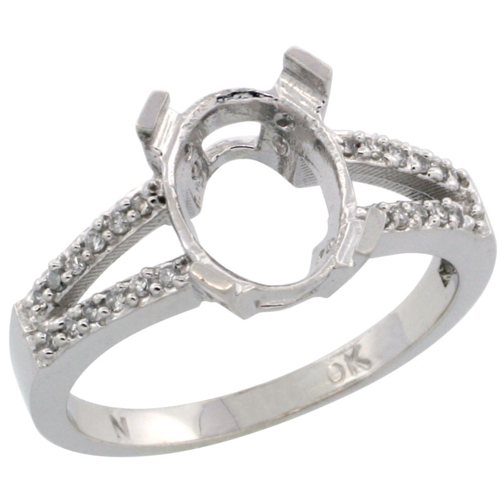 10k White Gold Semi-Mount Ring ( 10x8 mm ) Oval Stone & 0.15 ct Diamond Accent, sizes 5 - 10