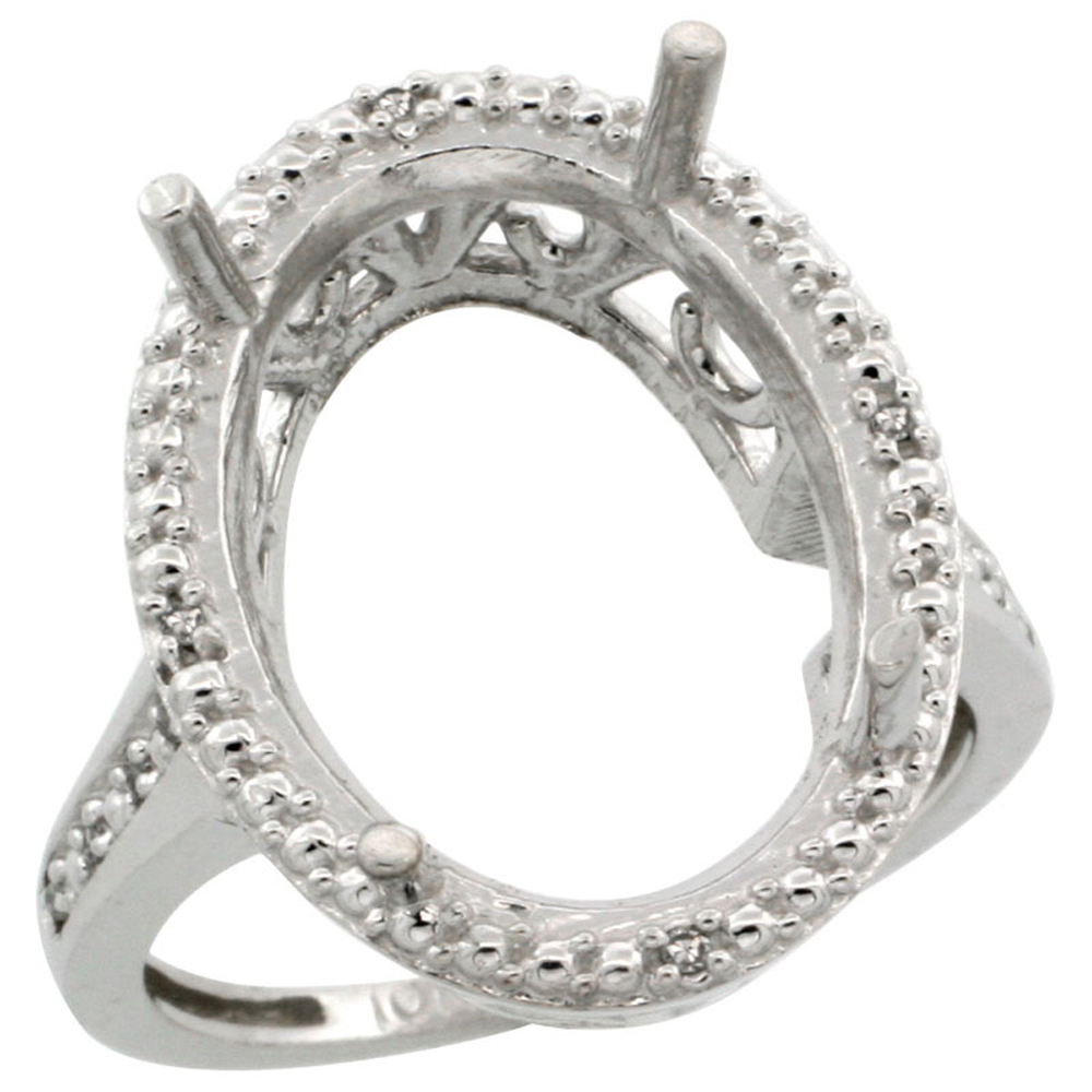 14K White Gold Semi-Mount Ring (18x13 mm) Large Oval Stone & 0.04 ct Diamond Accent, sizes 5 - 10