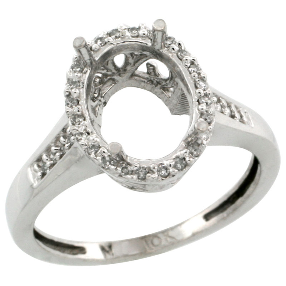 14K White Gold Semi-Mount Ring ( 10x8 mm ) Oval Stone & 0.087 ct Diamond Accent, sizes 5 - 10
