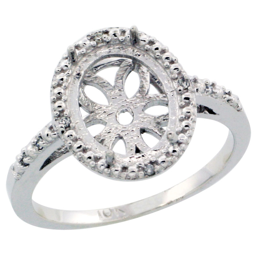 10k White Gold Semi-Mount Ring ( 10x8 mm ) Oval Stone & 0.05 ct Diamond Accent, sizes 5 - 10