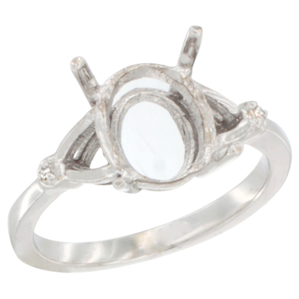 10k White Gold Semi-Mount Ring ( 10x8 mm ) Oval Stone & 0.01 ct Diamond Accent, sizes 5 - 10