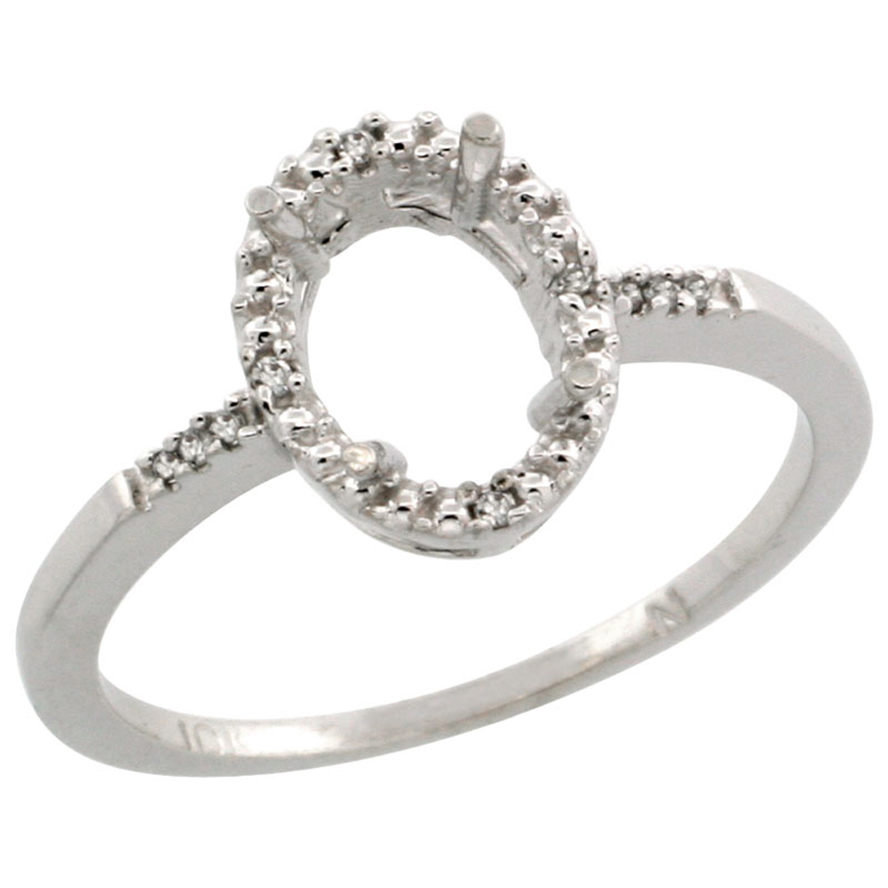 10k White Gold Semi-Mount Ring ( 8x6 mm ) Oval Stone & 0.06 ct Diamond Accent, sizes 5 - 10