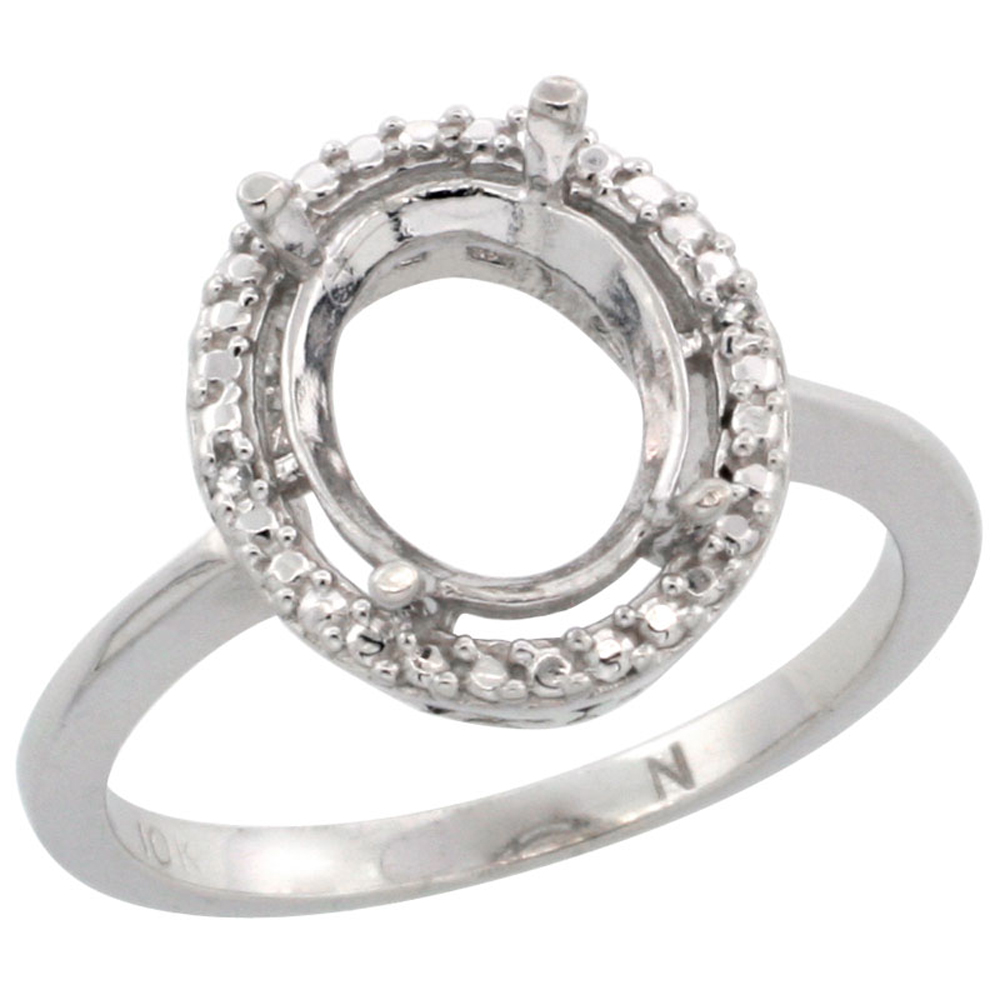 10k White Gold Semi-Mount Ring ( 10x8 mm ) Oval Stone & 0.13 ct Diamond Accent, sizes 5 - 10