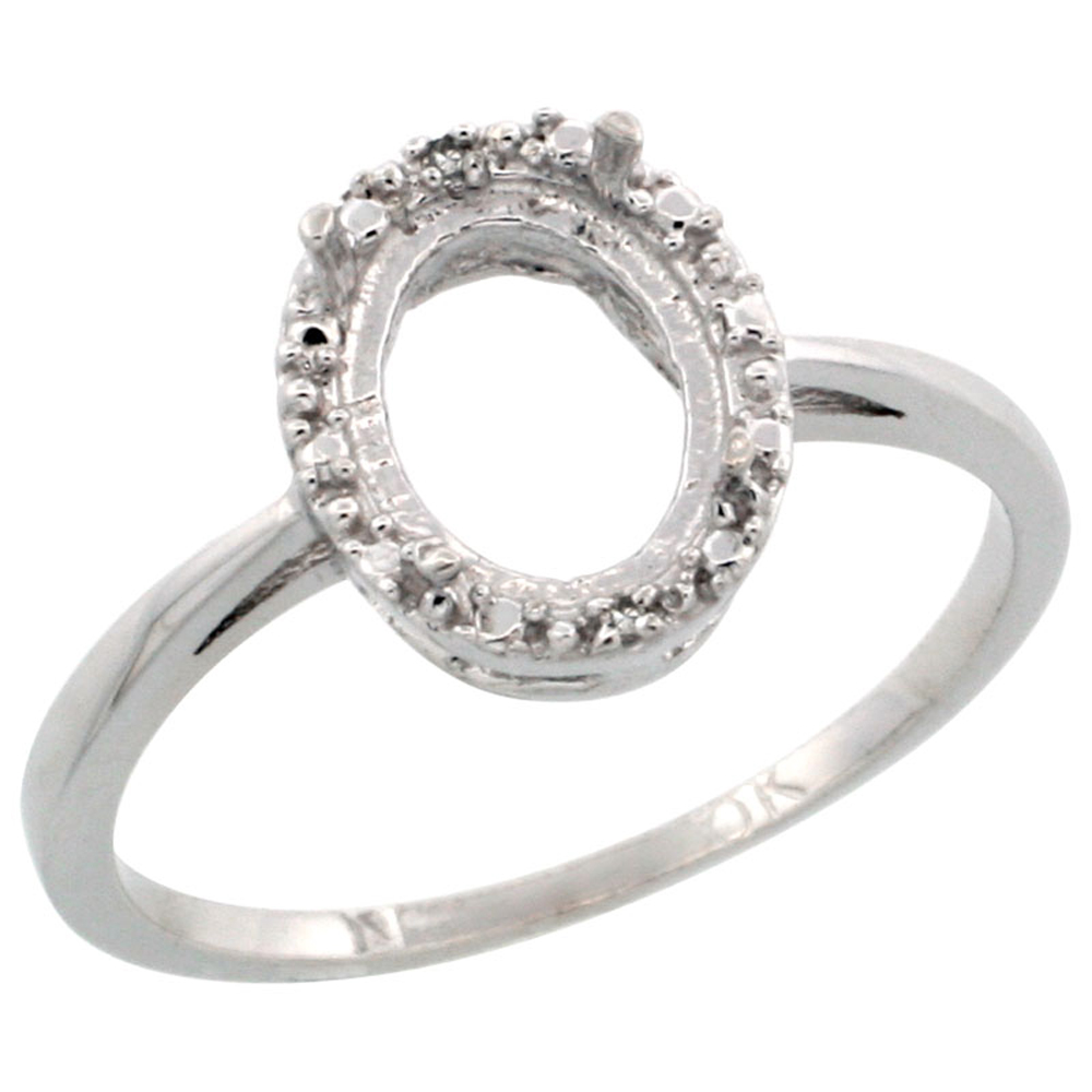14K White Gold Semi-Mount Ring ( 8x6 mm ) Oval Stone & 0.04 ct Diamond Accent, sizes 5 - 10