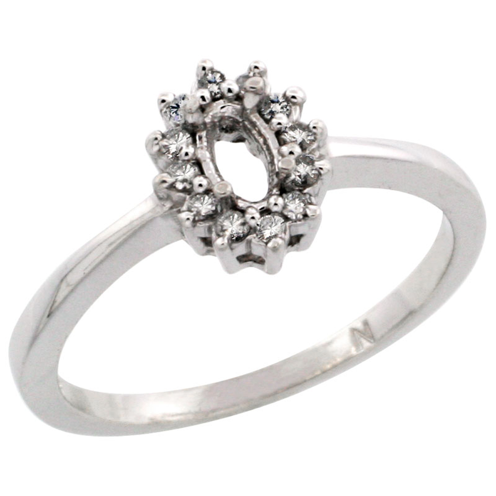 10k White Gold Semi-Mount Ring ( 5x3 mm ) Oval Stone & 0.2 ct Diamond Accent, sizes 5 - 10