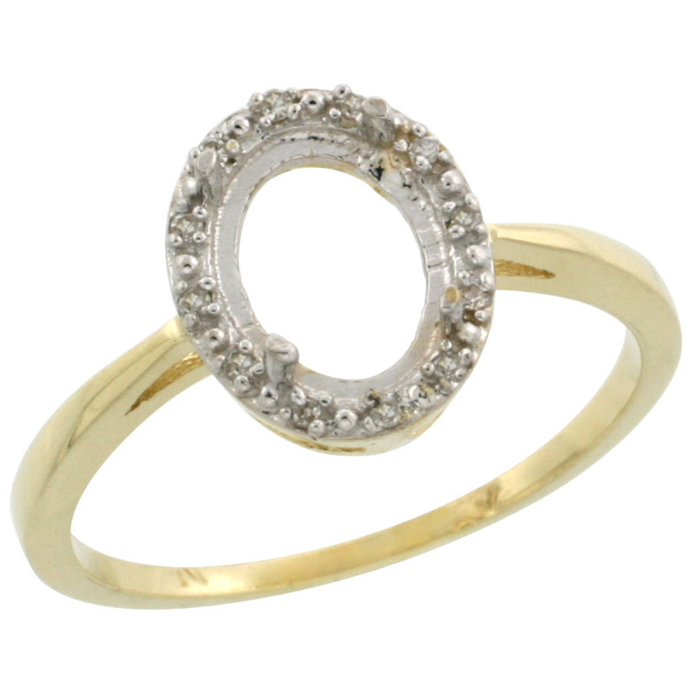 10k Yellow Gold Semi-Mount Ring ( 8x6 mm ) Oval Stone & 0.02 ct Diamond Accents, sizes 5 - 10