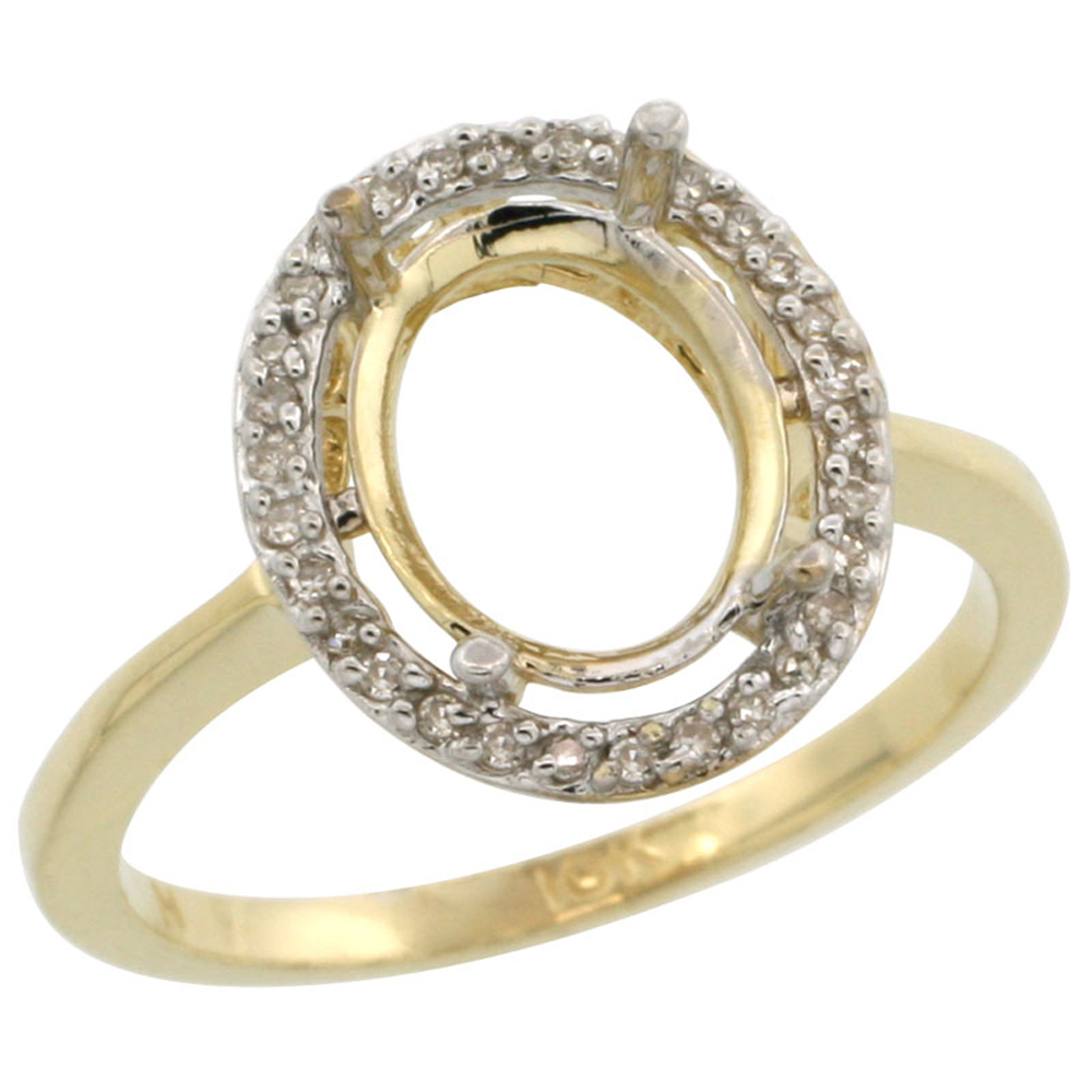 10k Yellow Gold Semi-Mount Ring ( 10x8 mm ) Oval Stone & 0.15 ct Diamond Accents, sizes 5 -10