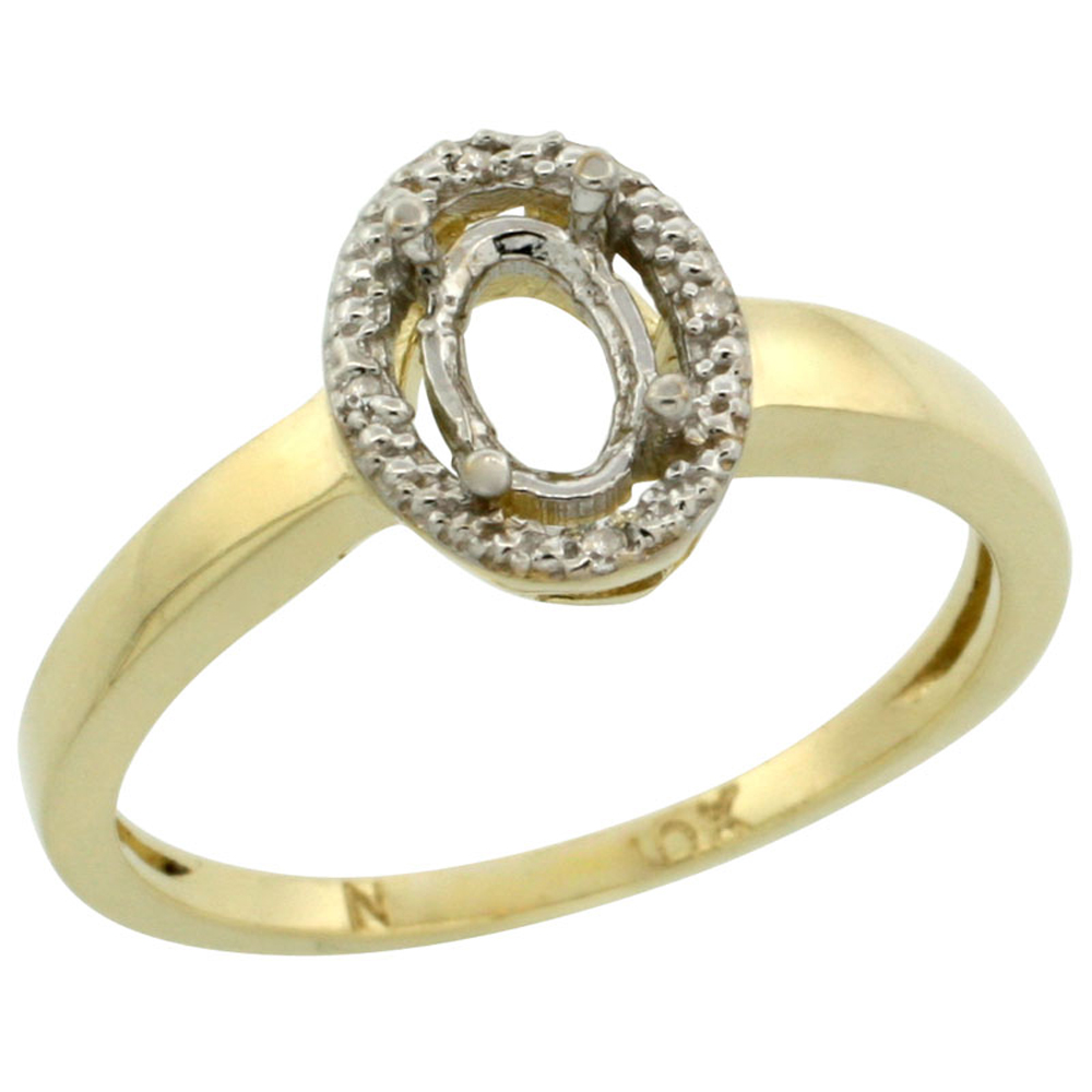 10k Yellow Gold Semi-Mount Ring ( 6x4 mm ) Oval Stone & 0.03 ct Diamond Accent, sizes 5 - 10