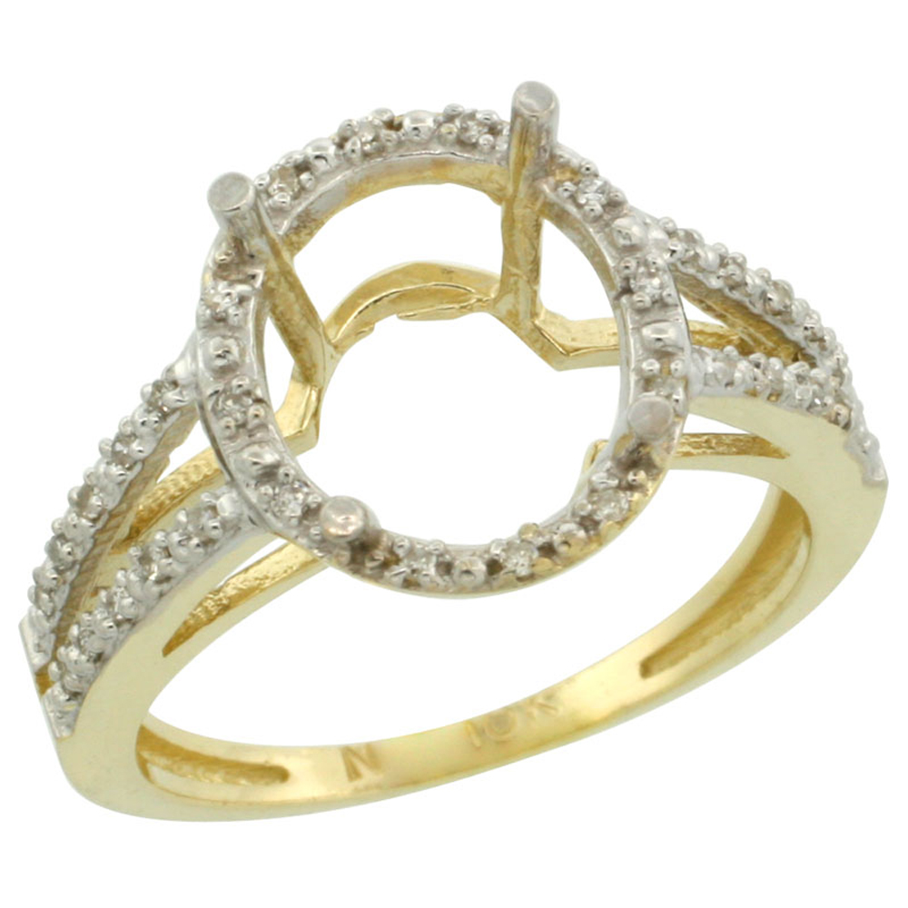 14K Yellow Gold Semi-Mount Ring ( 11x9 mm ) Oval Stone & 0.09 ct Diamond Accent, sizes 5 - 10