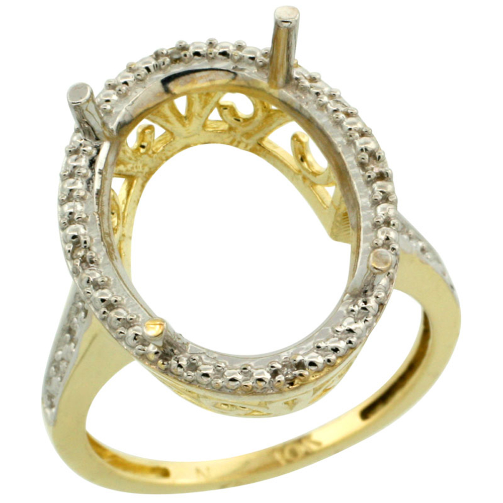 14K Yellow Gold Semi-Mount Ring (18x13 mm) Large Oval Stone & 0.04 ct Diamond Accent, sizes 5 - 10