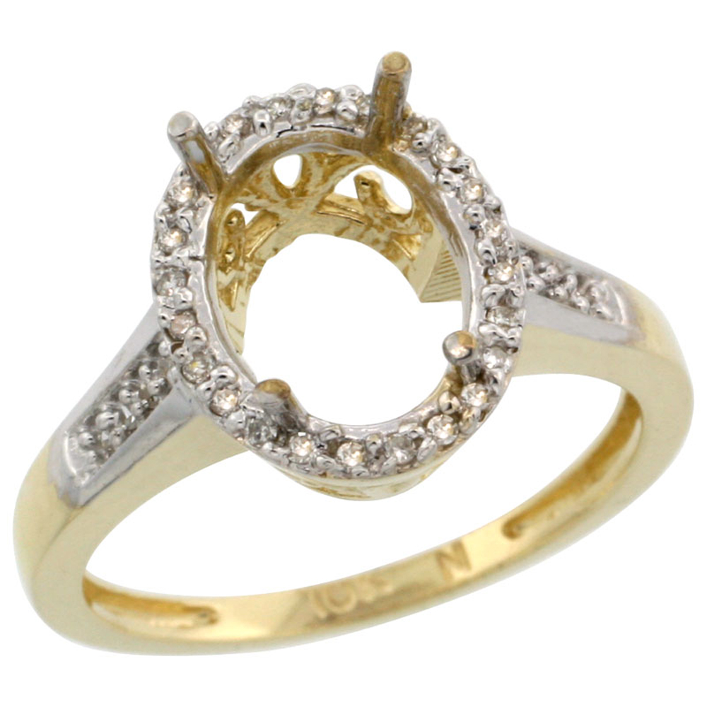 10k Yellow Gold Semi-Mount Ring ( 10x8 mm ) Oval Stone & 0.2 ct Diamond Accent, sizes 5 - 10